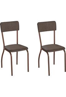 Conjunto Com 2 Cadeiras Nowra Marrom E Cobre
