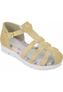 Sandália Flat Form Infantil Femino - Feminino-Branco+Dourado