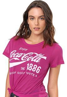 Camiseta Coca-Cola Jeans Lettering Roxa