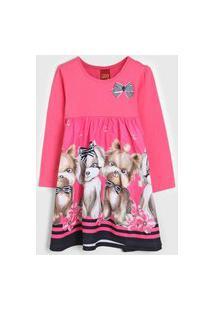 Vestido Kyly Infantil Cachorrinho Rosa/Azul-Marinho