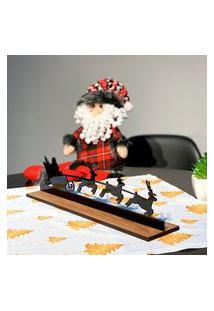 Enfeite De Mesa Natalino Papai Noel Com Renas Único