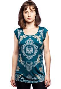 Camiseta Caráter Caveira Romana Verde