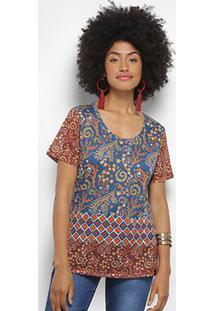 Camiseta Cantão Estampada Feminina - Feminino-Azul Escuro