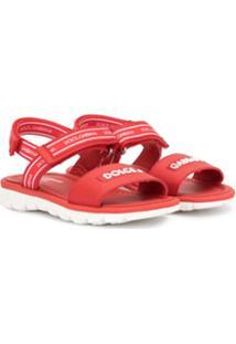 Dolce & Gabbana Kids Sandália Vermelha De Couro Com Logo - Vermelho