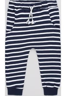 Calça Infantil Em Moletom Listrada Com Cordão Azul Marinho