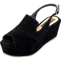 ca5e700d8b Sandália Anabela Love Shoes Média Fechada Uncle Boot Nobuck Preto