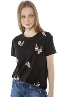 Camiseta T-Shirt Aplicação Pérolas E Strass Pop Me Preto
