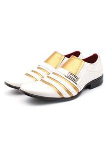 Sapato Social Leve Renovally Branco E Dourado