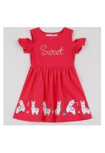 Vestido Infantil Lhamas Manga Curta Pink