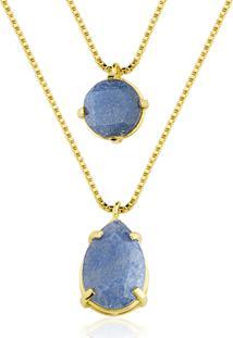 Colar Toque De Joia Duplo Pedras Quartzo Azul Amarelo