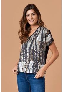 T-Shirt Tvz Gola V Estampa Selvagem Feminina - Feminino-Preto+Cinza