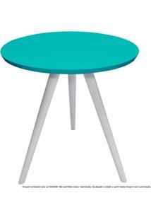 Mesa Lateral De Canto Tripé Laqueada Branca E Azul Tiffany