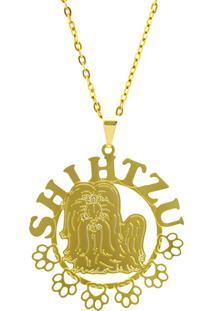 Gargantilha Horus Import Shitzu 2 Banhada Ouro Amarelo 18 K 1060175