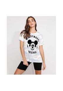 Camiseta Mickey Mouse Flocada Camuflada Manga Curta Decote Redondo Multicor