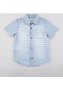 Camisa Jeans Infantil Listrada Com Bolso Manga Curta Azul Claro