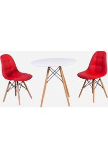 Conjunto Mesa Eiffel Branca 80Cm + 2 Cadeiras Dkr Charles Eames Wood Estofada Botonê - Vermelha