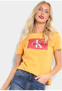 Camiseta Calvin Klein Básica Estampa Logo Feminina - Feminino-Mostarda