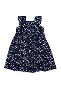 Vestido Infantil Com Alças - Floral - Marinho - Algodão E Elastano - Minimi