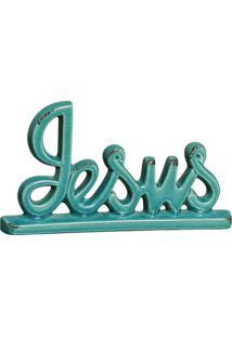 Escultura Decorativa Jesus Turquesa 14,5X27 Cm