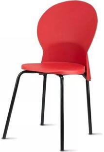 Cadeira Luna Assento Vermelho Base Preta - 53844 - Sun House