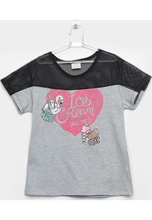 Camiseta Infantil Up Baby Meia Malha Ice Cream Feminina - Feminino-Cinza