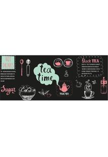 Tapete Transfer Tea Time- Preto & Rosa Claro- 90X40Ctapetes Junior