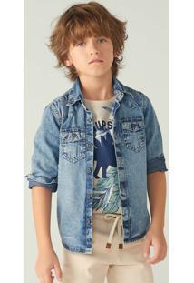 Camisa Jeans Infantil Menino Manga Longa
