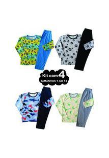 Kit 4 Pijama 1 Ao 14 Infantil Juvenil Menino Algodão Inverno