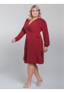 Vestido Vermelho Transpassado Plus Size Nikki