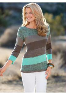 Suéter De Tricô Listrado Verde E Marrom