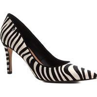 173191a81 Scarpin Couro Shoestock Salto Alto Wild Cat - Feminino-Preto+Branco