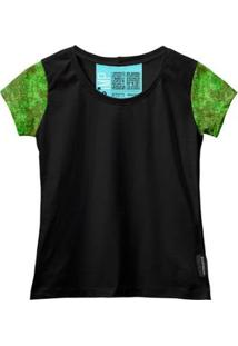 Camiseta Baby Look Feminina Algodão Estampa Militar Estilo - Feminino-Verde+Preto