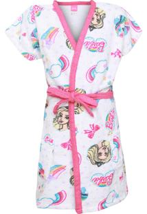 Roupão Infantil Lepper Barbie Reinos Mágicos Pink