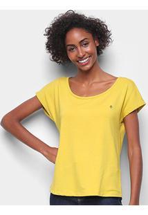 Camiseta Forum Básica Lisa Feminina - Feminino-Amarelo
