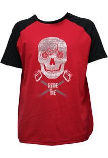 Camiseta Alkary Raglan Manga Curta Bmx Caveira Vermelha E Preta