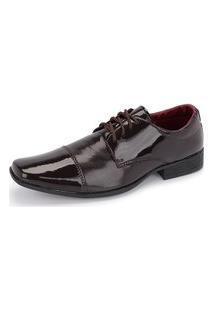 Sapato Social Cadarço 801 Verniz Marrom