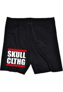 Bermuda Tecido Skull Clothing Skull Clthg Preto