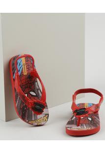 Chinelo Infantil Ipanema Homem Aranha Com Elástico Vermelho