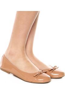 Sapatilha Dafiti Shoes Verniz Laço Nude