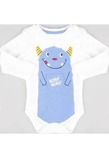 Body Infantil Com Estampa Interativa Manga Longa Off White