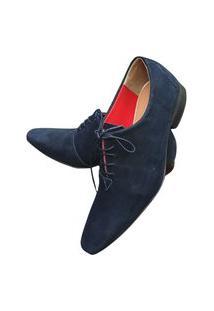 Sapato Masculino Italiano Oxford Em Couro Art Sapatos Azul Escuro