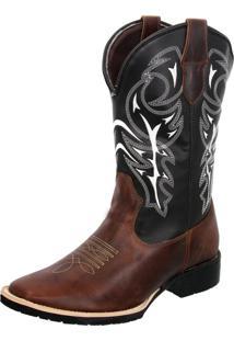 Bota Texana Country Texas Gold Bico Quadrado Delegada Marrom - Kanui