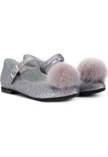 Monnalisa Sapato Com Pompom - Prateado