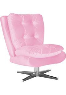 Poltrona Decorativa Tolucci Suede Rosa Bebê Com Base Giratória Em Aço Cromado - D'Rossi