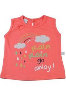 Camiseta Infantil Ano Zero Cotton Rain Go Away Feminina - Feminino-Laranja