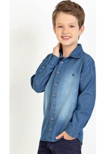 Camisa Infantil Jeans Manga Longa Com Spray