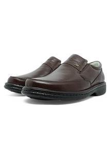 Sapato Masculino Soft Confort Em Couro Cafe 313