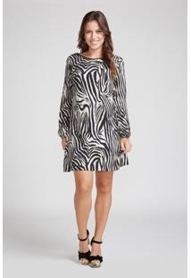Vestido Animal Print Estampa Zebra Manga Longa - Feminino