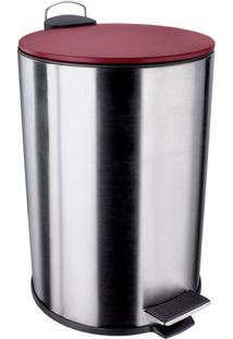 Lixeira Inox Com Pedal- Inox & Vermelho- 12L- Eueuro Homeware