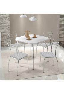 Conjunto Mesa 1504 Branca Cromada Com 4 Cadeiras 1700 Fantasia Branco Carraro